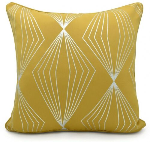 Geometric Onyx Metallic Foil Print Design Filled Scatter Cushion Ochre Yellow Colour